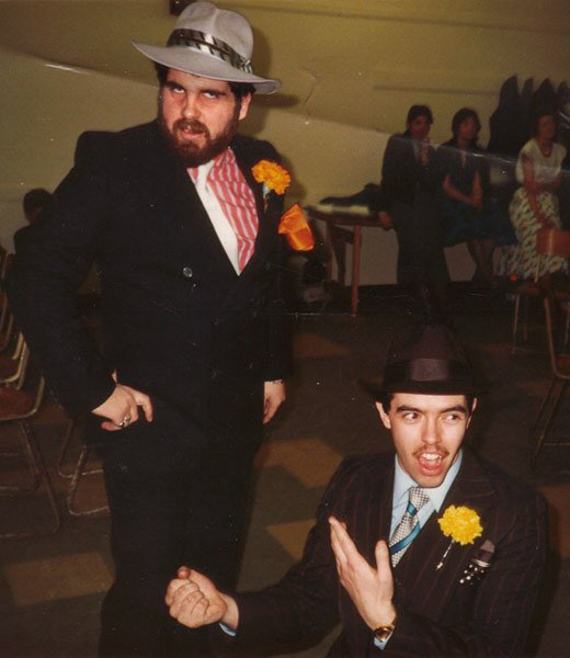 Tom Russell (Nicely-Nicely Johnson) kneeling on the right and Andrew Macdougall (Benny Southstreet) standing on the left. Guys and Dolls, King's Theatre, 1985.