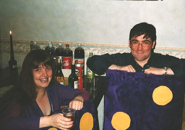 Andrea Glass and Iain Docherty (now married) dressed a pair of furry dice during a Halloween party at Sam de Smith's.